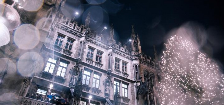 The New Rathaus (Town Hall) and Christmas tree at night, Munich, Germany