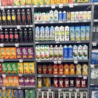 different drinks in a shelf