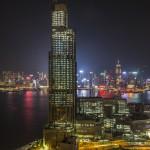 die Skyline von Hongkong bei Nacht