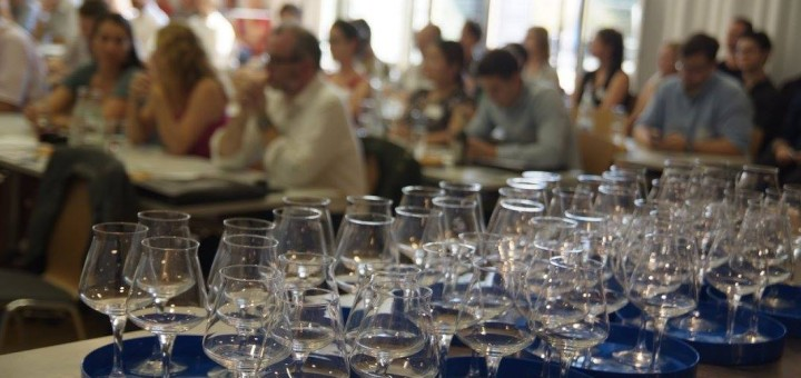 many glasses on a table
