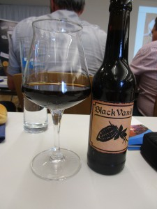 Just one of the many beers that were tested: a dark beer flavored with vanilla.