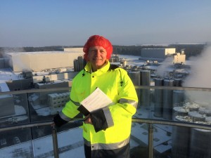 Impressive but chilly - Sossna on the roof of Sachsenmilch´s new whey plant. (Photo: Truhlar/UTM