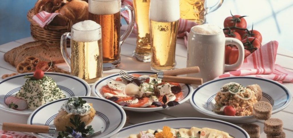 a bavarian meal in the evening