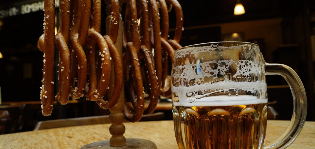 Some pretzels and a beer