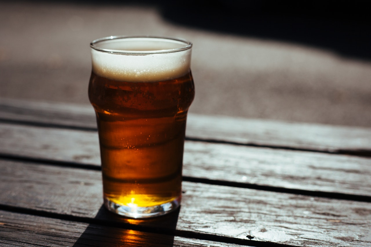 A glass with craft beer