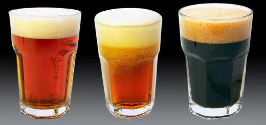 Drei verschiedene Biersorten in einer Reihe