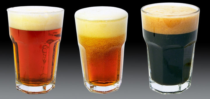 Three different types of beer in a row