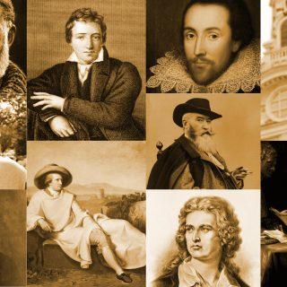 Eine Collage von Dichtern und Denkern