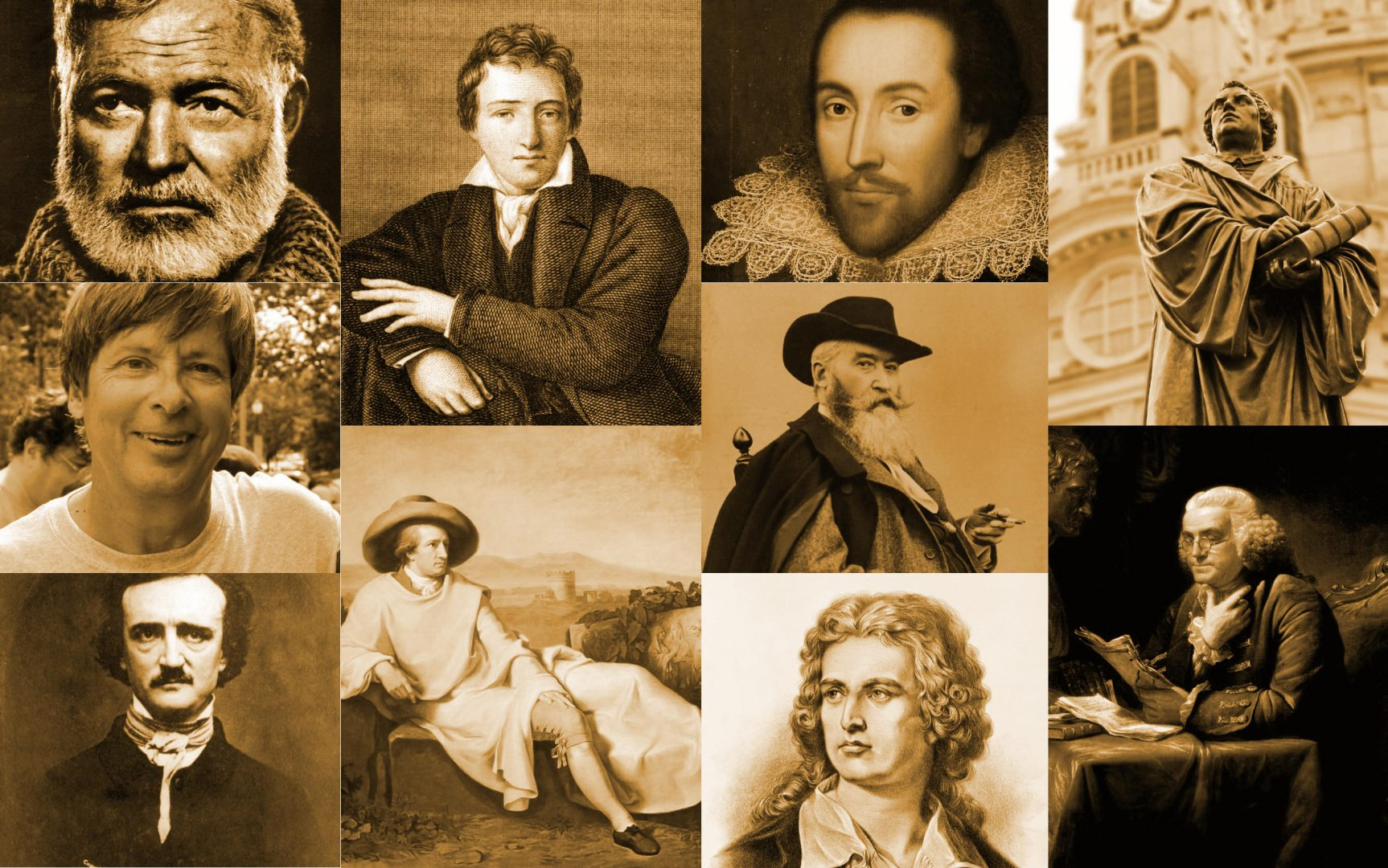 A collage of poets and thinkers