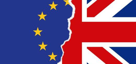 Eine Flagge aus der europäischen und der britischen Flagge