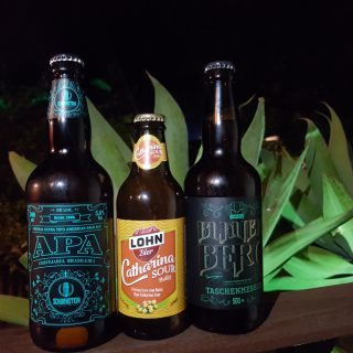 Three bottles of Brazilian beer