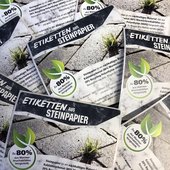 Nachhaltige Etiketten aus Steinpapier