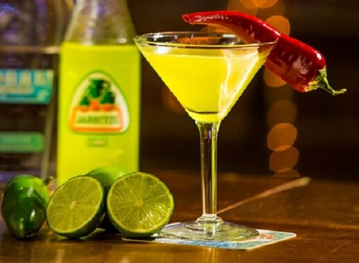 Glass with lime and chili drink