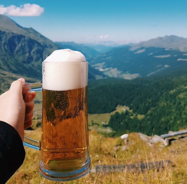 Beer in glass with mountain view