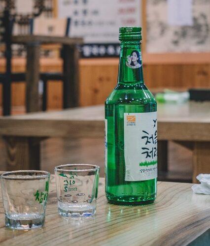 Korean beer in a bar