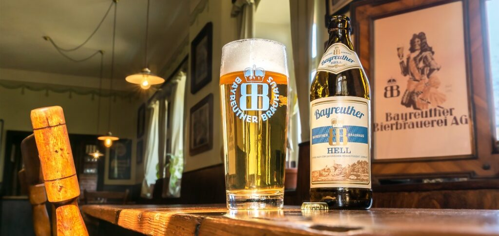 Bayreuther beer in bar