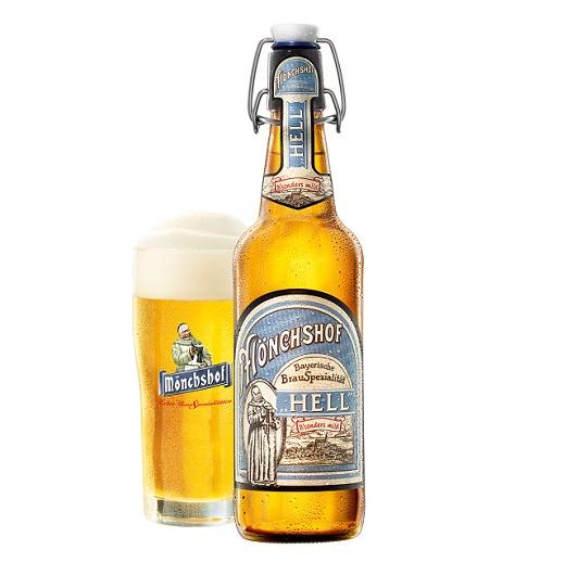 Mönchshof Hellbier in Flasche und Glas